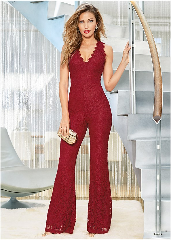 Open Back Lace Jumpsuit,High Heel Strappy Sandals