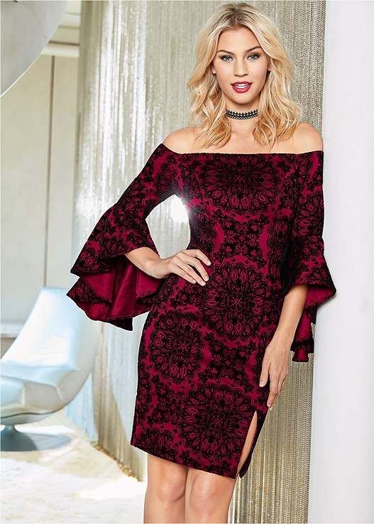SLEEVE DETAIL DRESS,VELVET BUCKLE HEEL