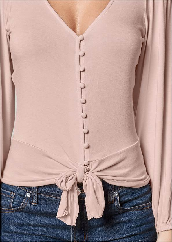 Alternate View Tie Front Button Up Top