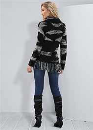 Back View Contrasted Fringe Sweater