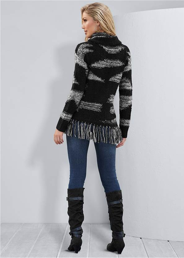 Back View Contrast Fringe Sweater