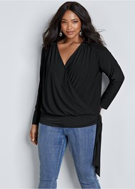 Front View Surplice Side Tie Top