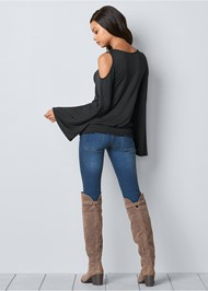 Front View Cold Shoulder Blouson Top