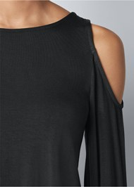 Alternate View Cold Shoulder Blouson Top