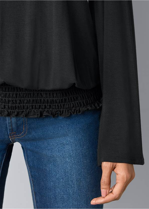 Alternate View Cold Shoulder Blouson Top