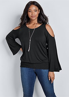 plus size cold shoulder blouson top
