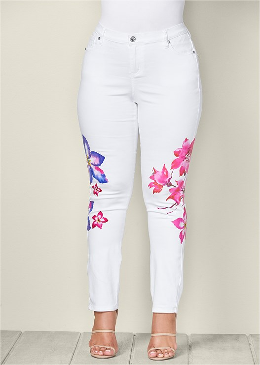 c5b214a73e Plus Size PAINTED FLORAL SKINNY JEANS in White Denim