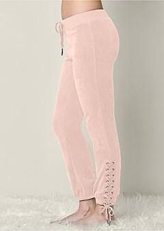 lace up velour jogger