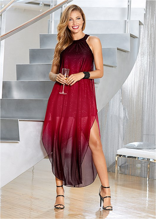 OMBRE GLITTER LONG DRESS,HIGH HEEL STRAPPY SANDALS,WIDE FLORAL METAL BANGLE