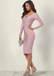 Front view Slimming Lace Up Dress