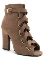 peep toe lace up bootie