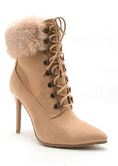 faux fur lace up bootie