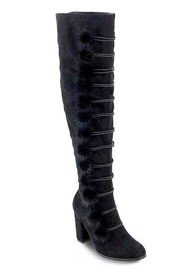 Pom Pom Over The Knee Boots