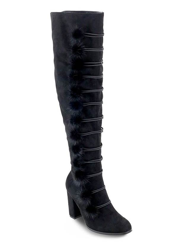Pom Pom Over The Knee Boots,Mid Rise Color Skinny Jeans