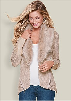 faux fur zipper cardigan
