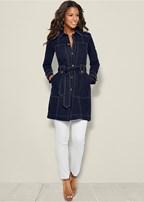 long belted jean jacket
