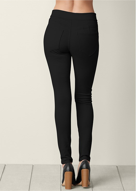 SLIMMING BUM LIFTER PANTS,TIE FRONT BUTTON UP TOP,POINTY TOE CHUNKY HEEL PUMP