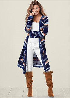 printed long sleeve duster