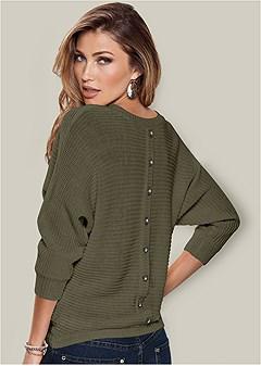 plus size button back detail sweater