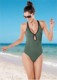 fbe111a220313 Army Green   Black Swimsuit Sale