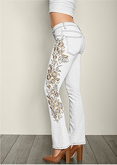 embroidered boot cut jeans