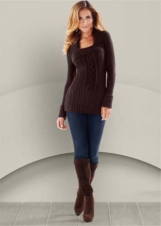 CABLE KNIT SWEATER TUNIC,COLOR SKINNY JEANS
