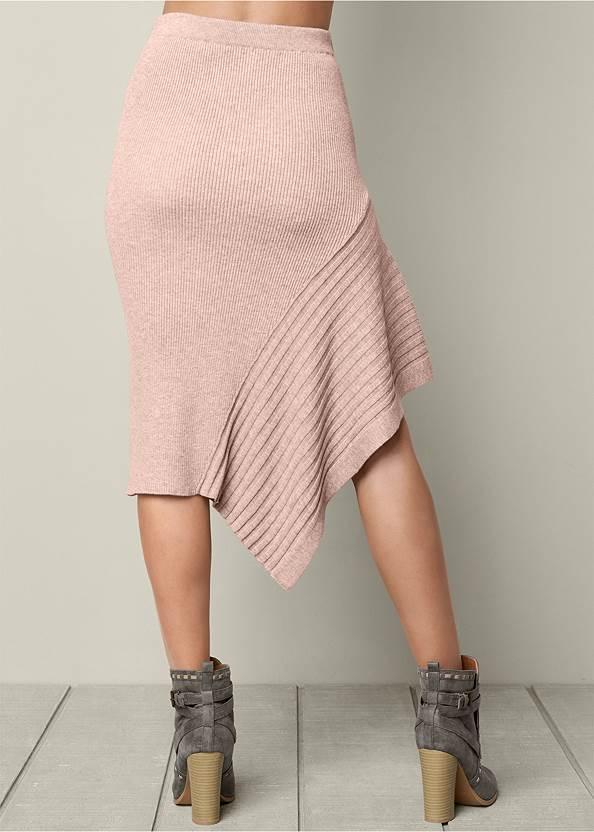 Back View Sweater Asymmetrical Skirt