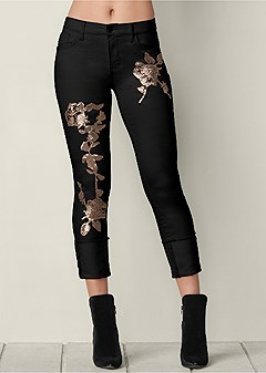 floral sequin cuffed jean