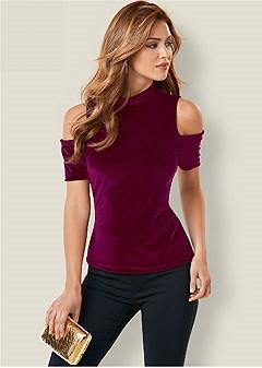 cold shoulder velvet top