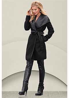 faux leather wrap coat
