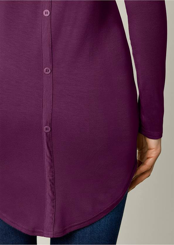 Alternate View Button Back Scoop Neck Top