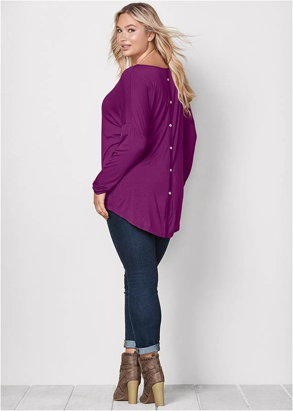 Back View Button Back Scoop Neck Top