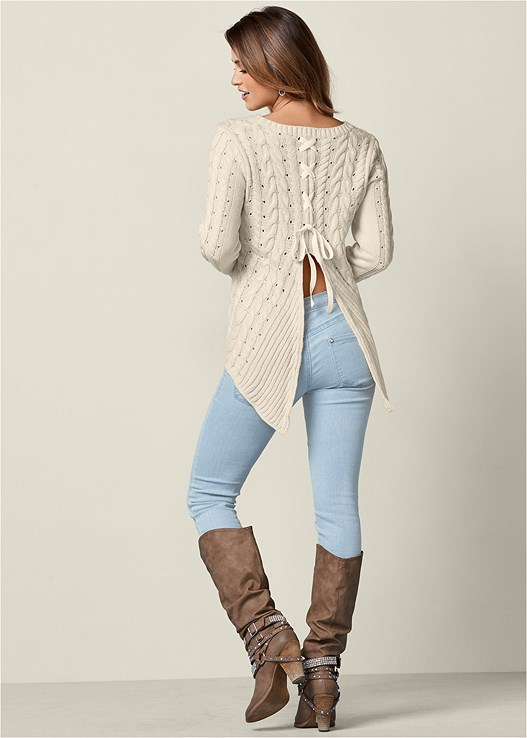 bf3eb2646cd Beige CABLED LACE UP SWEATER from VENUS