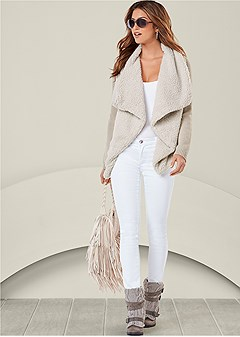 shearling knit cardigan