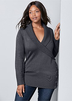 plus size side lace up sweater