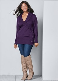 Back View Side Lace Up Sweater