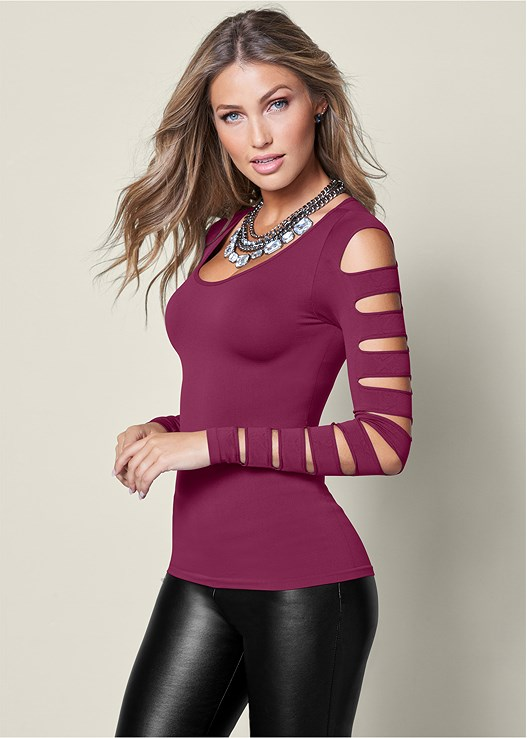 CUT OUT LONG SLEEVE TOP,FAUX LEATHER LEGGINGS,TIE BACK BOOT,NATURAL BEAUTY LACE BRA