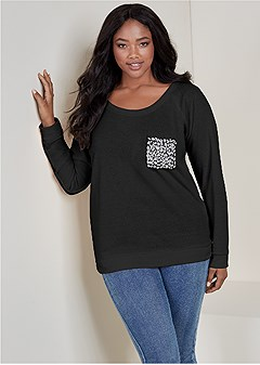 plus size jeweled pocket sweatshirt