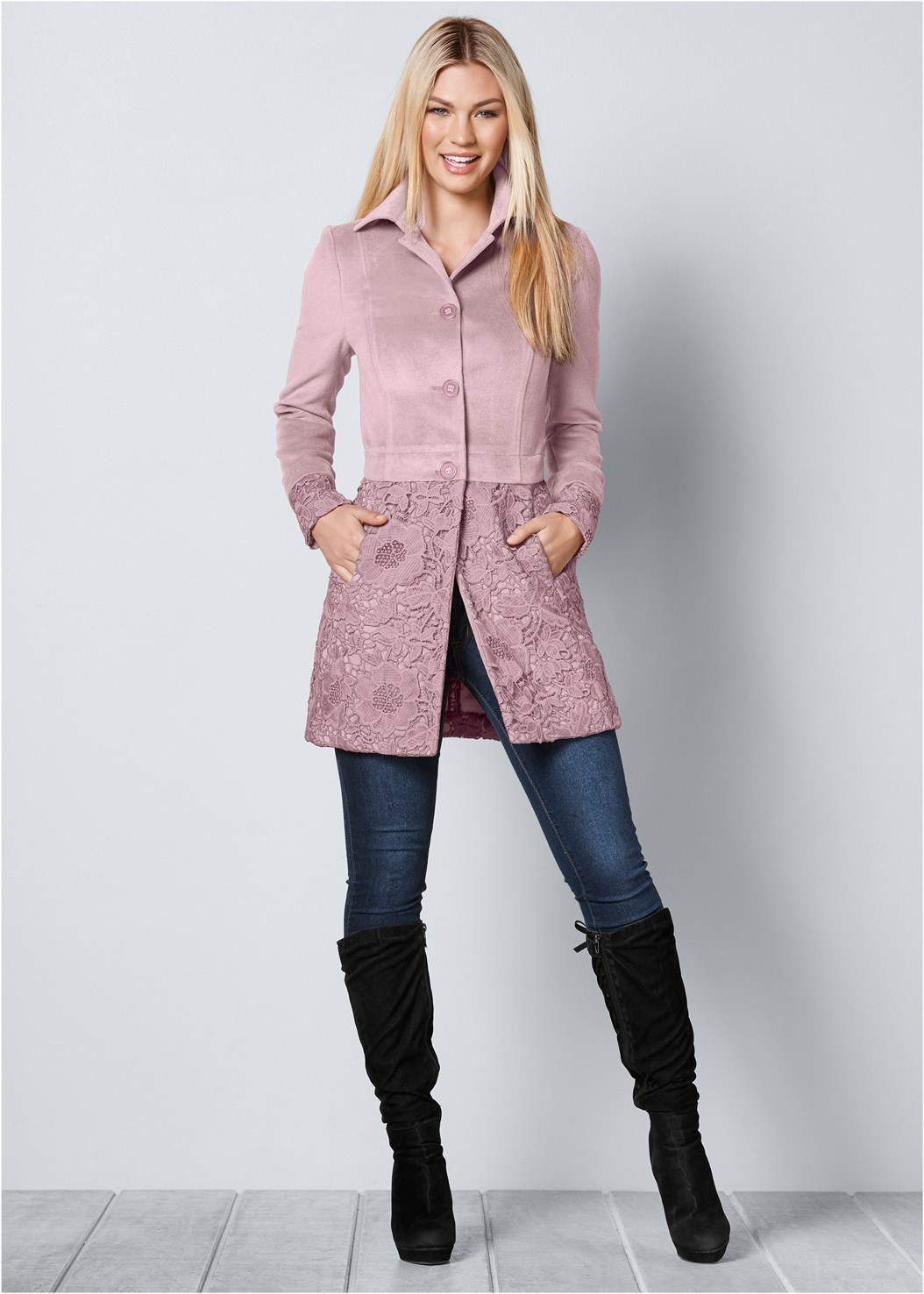 Lace Detail Coat,Mid Rise Color Skinny Jeans,Tie Back Boots