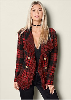 plaid fringe sweater
