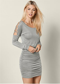 sleeve detail bodycon dress