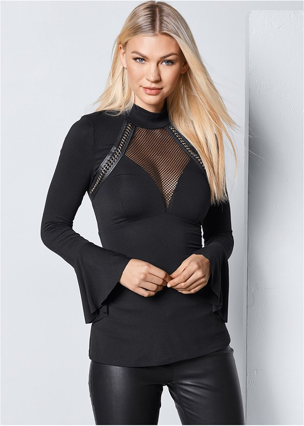Mesh And Chain Detail Top,Faux Leather Leggings,High Heel Strappy Sandals
