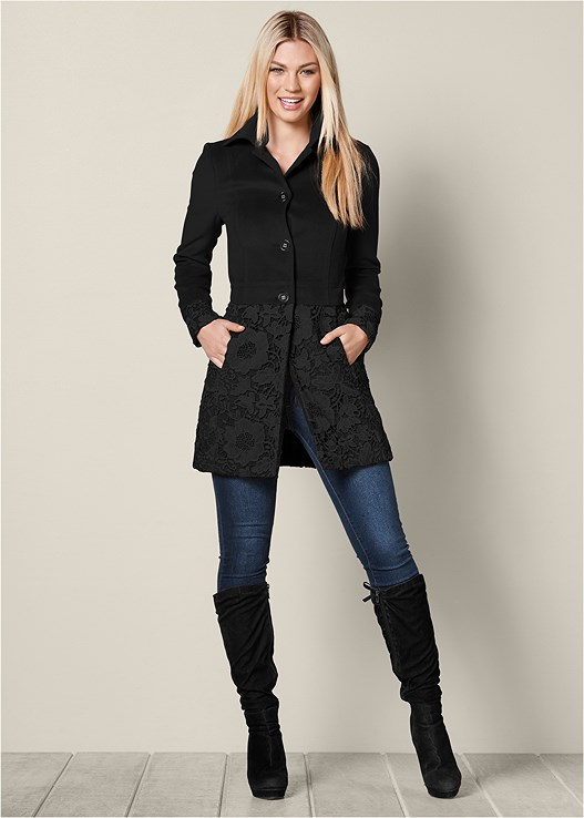 LACE DETAIL COAT,COLOR SKINNY JEANS,TIE BACK BOOTS