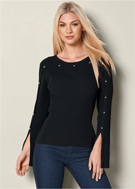 Front view Stud Detail Sweater