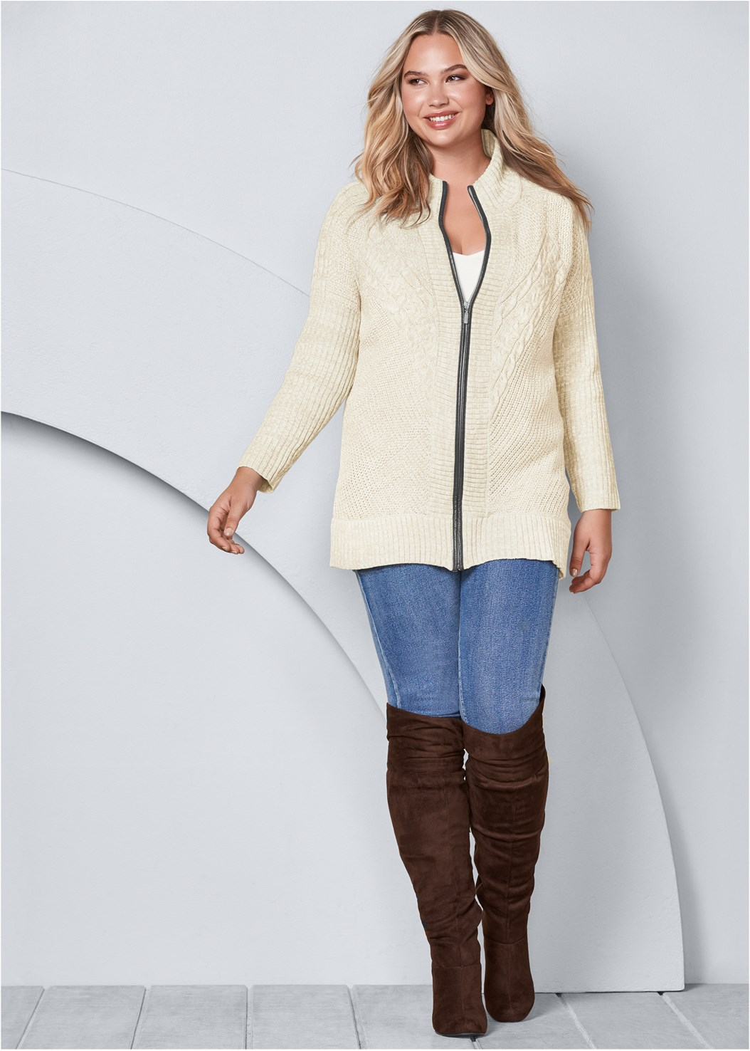 Faux Leather Trim Cardigan,Basic Cami Two Pack,Mid Rise Color Skinny Jeans,Fold Over Boot,Stud Detail Scarf