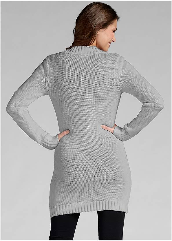 Back View Button-Front Knit Cardigan