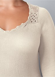 Alternate View Crochet Detailed Sweater