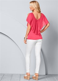 Back view Cold Shoulder Flutter Top