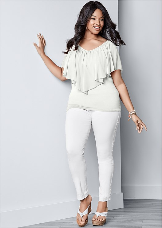 COLD SHOULDER FLUTTER TOP,COLOR SKINNY JEANS