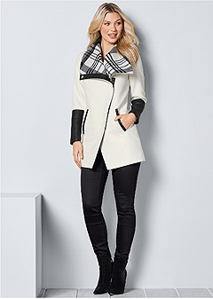 plaid detail coat